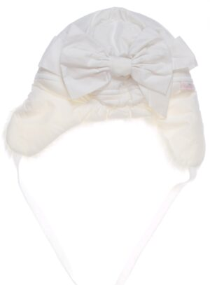 Шапка для девочки зимняя плащевка с мехом белая Арт. Maria Pupill