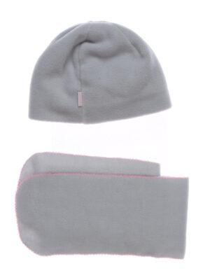 Шапка и шарф для девочки флисовый серый Арт. Malwa Pupill