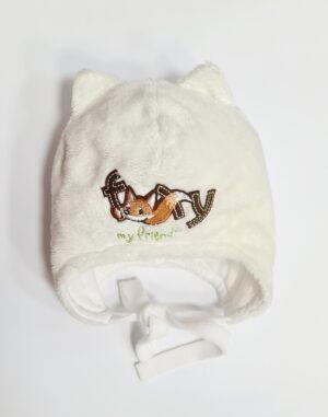 Шапка для хлопчика молочна з принтом лисички Арт.Fox Pupill