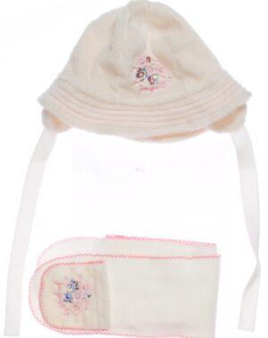 Шапочка с шарфиком молочная для девочки на подкладке Арт. IRINA Pupill