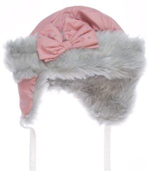 Зимняя шапка для девочки ушанка верх плащевка на синтепоне Арт. Luiza-1