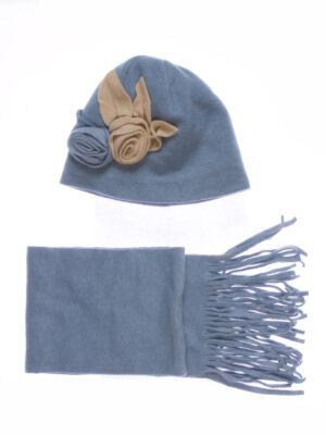 Шапка и шарф для девочки флисовый синий Арт.Roza-1 Pupill